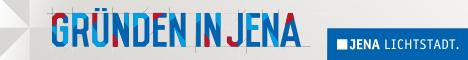 Logo Schriftzug Gründen in Jena, blauer Balken mit Jena Lichtstadt