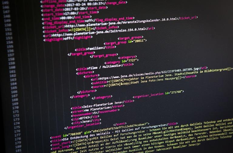 Programmiercode vom Veranstaltungskalender der Stadt Jena